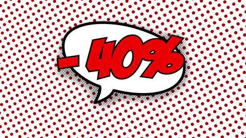40 percent discount text in speech balloon CG動画