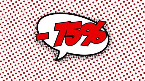 75 percent discount text in speech balloon CG動画
