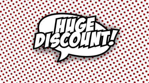Huge discount text in speech balloon in comic style animation Animation