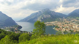 Panoramic aerial view of Lake Como and Lecco city, Italy Footage