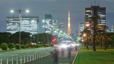 Night Time Lapse Tokyo Japan Footage