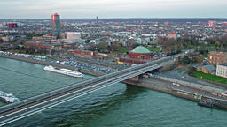 Duesseldorf / Germany - April 06 2018 : Aerial view of the crossing of Joseph Footage