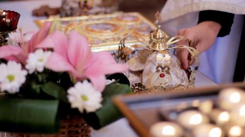 Wedding crowns, church wedding registration book and church attributes for Footage