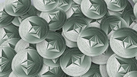 Travelling shot of large amount Ethereums classic cryptocurrency on a table Animation