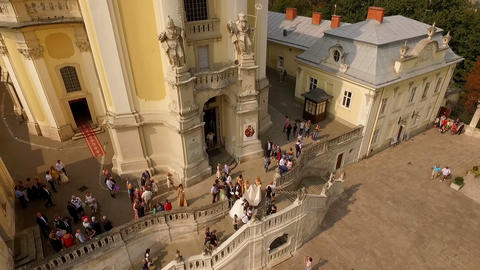 Aerial view of St. George's Cathedral Lviv Ukraine. Wedding Live Action