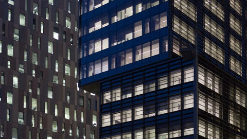 Office building at dusk Footage