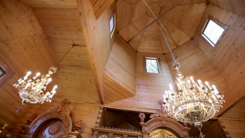interior of a small wooden church Stock Video Footage