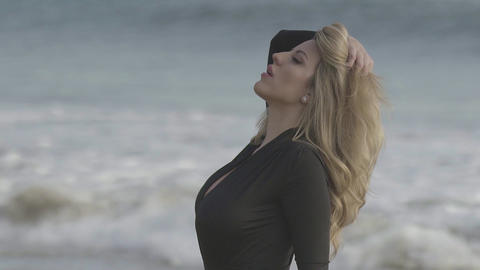 65 Blonde woman relaxing Footage