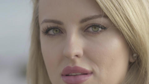 portrait of sensual woman with green eyes and tender skin Footage