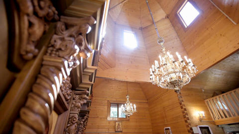 interior of a small wooden church Live Action