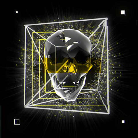 The Silver Skull Encaged in Cosmic Jail Full HD VJ Loop Animation