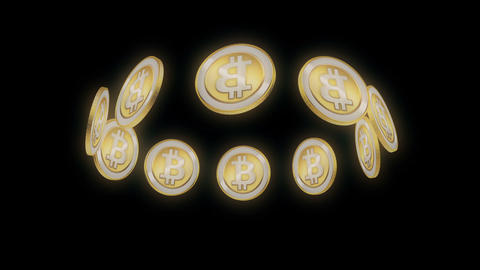 Bitcoin Golden UFO Holographic Full HD VJ Loop CG動画素材