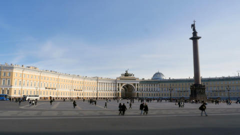 crowds of tourists in the square Winter Palace Footage