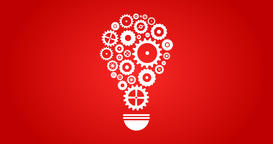 Cogs And Gears Spinning In Lightbulb Teamwork Idea On Red Animation
