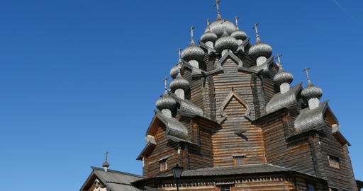 Old wooden church domes Footage