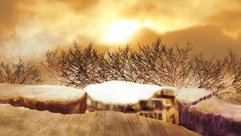 夕陽の木々の背景 CG動画素材