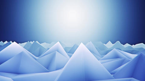 3D Blue Low Poly Mountains Lateral Scroll Loopable Background CG動画