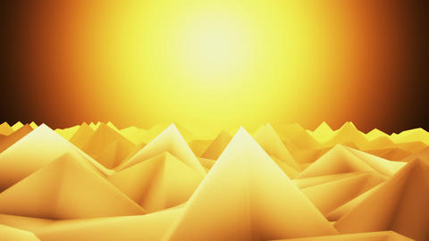 3D Orange Low Poly Mountains Lateral Scroll Loopable Background CG動画
