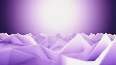 3D Purple Low Poly Mountains Lateral Scroll Loopable Background CG動画