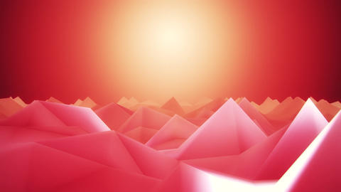 3D Red Low Poly Mountains Lateral Scroll Loopable Background CG動画