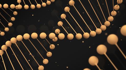 Matt orange model of DNA strand on black background Animation