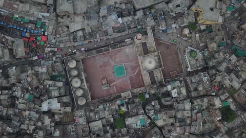 Panorama of Wazir Khan Mosque, Lahore, Pakistan (aerial photography) Footage