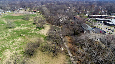 Aerial view of Shunga Trail in Topeka Kansas Footage
