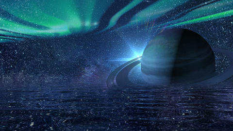 Background of a futuristic night sky with saturn Animación