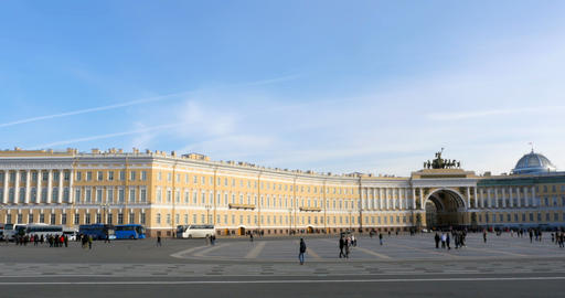 square in front Winter Palace panorama Footage