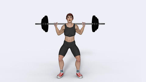 girl bodybuilder raises the bar,loop,animation,transparent background Animation