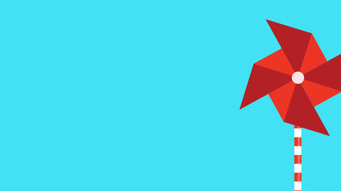 motion graphic of a red pinwheel that is moved by the wind Footage