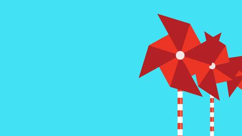 motion graphic of a red pinwheel that is moved by the wind ビデオ