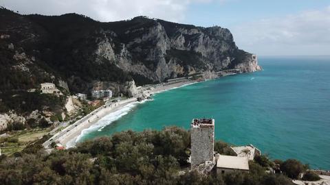 Drone View Of Baia Dei Saraceni In Varigotti Liguria Italy ビデオ