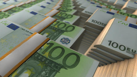 Euro Stacks Banknotes Money In Loop Mode Animation