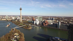 Aerial view of the Dusseldorf Media harbour in Germany - Europe Footage