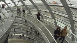 People walking inside the Reichstag Dome in Berlin, Germany Footage