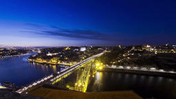 Evening view of Dom Luis Bridge over Duoro river in City of Porto, Portugal Footage