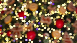 Bokeh made of Christmass tree decorations Footage