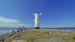 White old lighthouse in Swinoujscie, Poland Footage