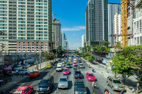 Heavy rush hour traffic in Bangkok Fotografía