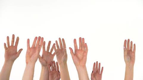 Many hands catch falling US dollars ビデオ
