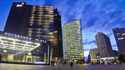 Evening view of Potsdamer Platz - financial district of Berlin, Germany Footage