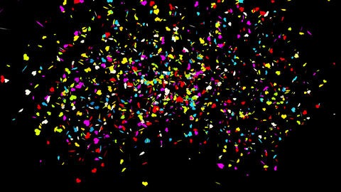 Left Right Center Heart Realistic colored Confetti Popper Explosions Animation