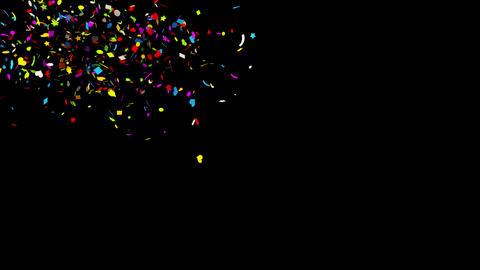 Top Center Multi shape Realistic colored Confetti Popper Explosions Animation