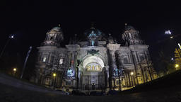 Berlin Cathedral (Berliner Dom) at night, Berlin, Germany Footage