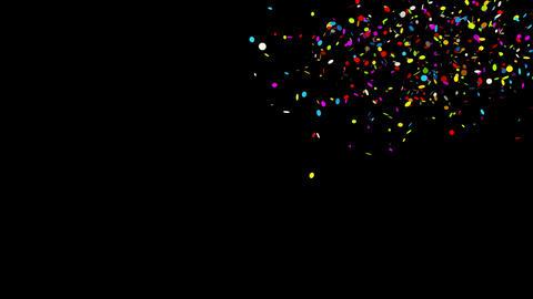 Top Right Multi shape Realistic colored Confetti Popper Explosions Animation