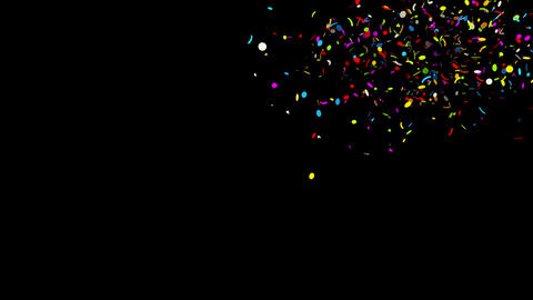 Top Right Round line Realistic colored Confetti Popper Explosions Animation