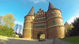 Holsten Gate in Lubeck, Germany (Time Lapse) Footage