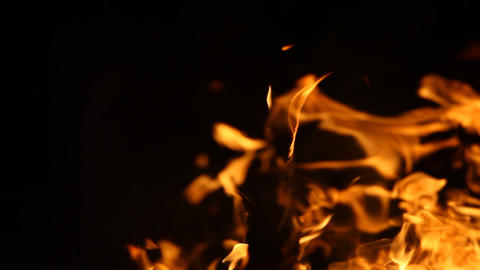 Fire flame isolated on black background Footage