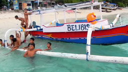 Children are having fun in the sea,Gili Trawangan Island Footage